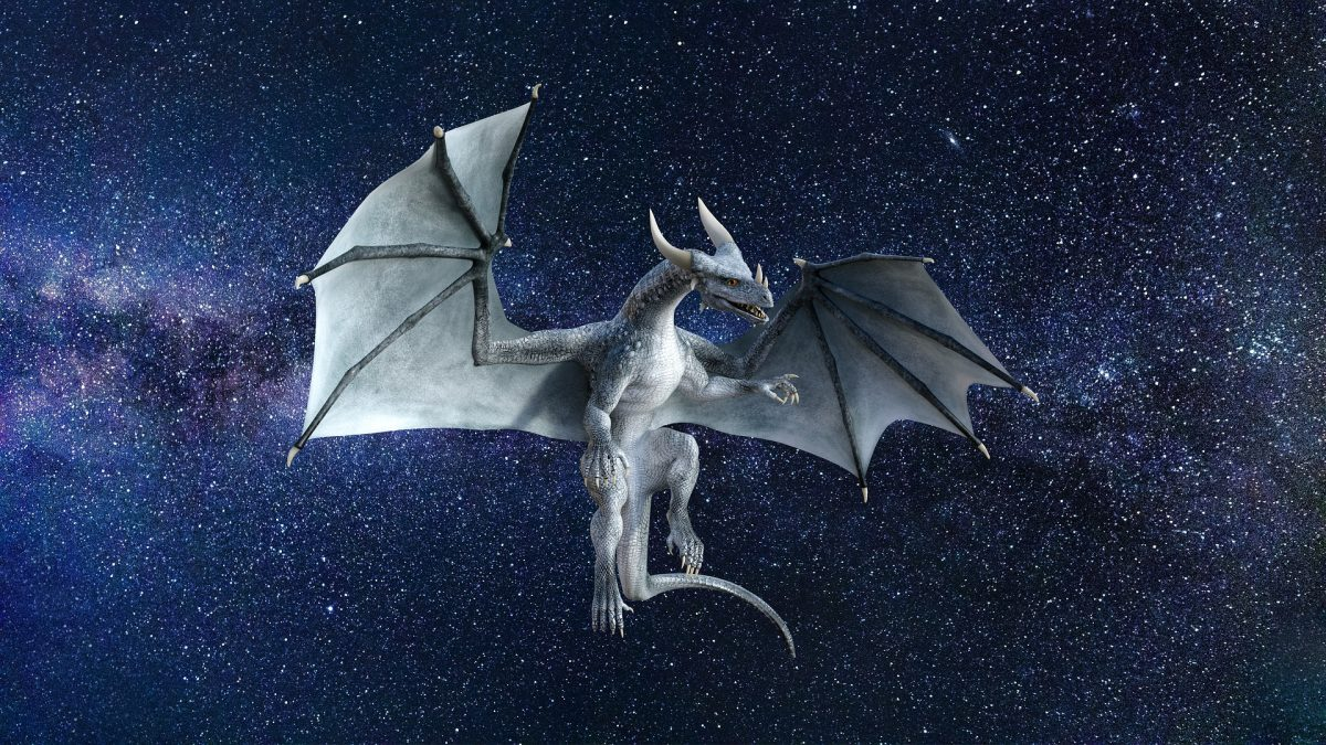 Dragon, wings out, flying in space