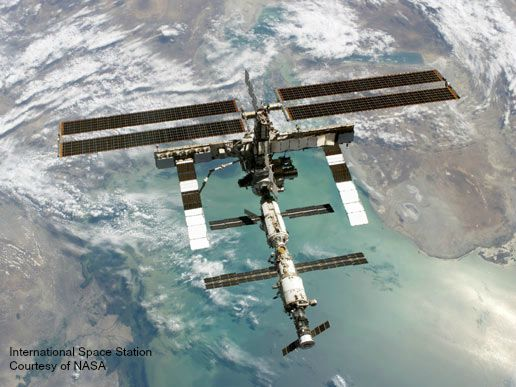 International Space Station above the Earth