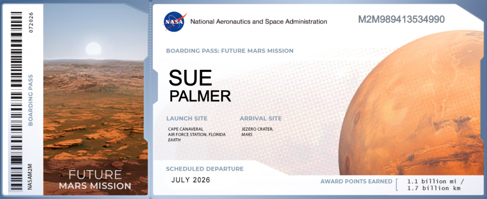 NASA boarding pass for 2026 mission to Mars