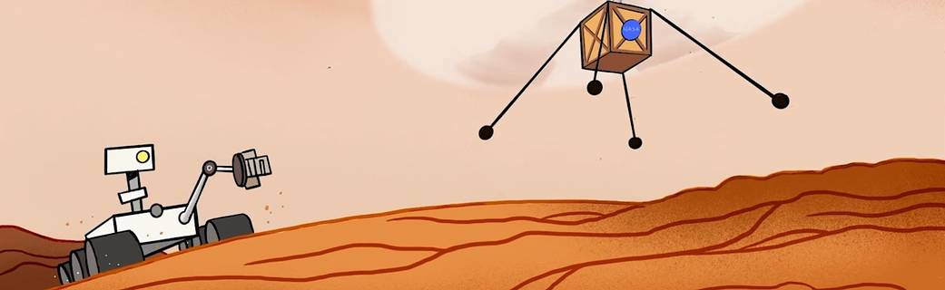 NASA cartoon image of the Mars Perseverance rover